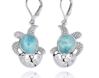 Squid silver earring with Larimar stone