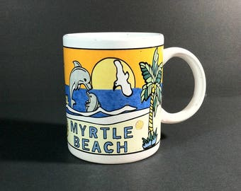 Myrtle Beach Souvenir Mug / Vintage Myrtle Beach SC Mug / Stoneware Souvenir Mug from Myrtle Beach