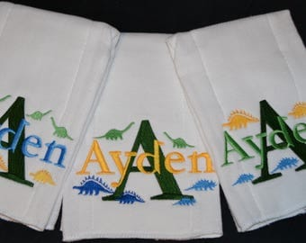 Baby Burp cloths rags. 3 Personalized embroidered. Monogrammed.   Dinosaur Dinos + lots more options