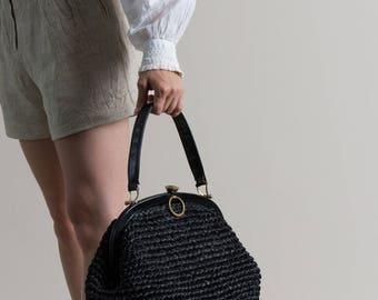 Vintage 60s Woven Straw Bag / Black Handbag / Picnic Purse