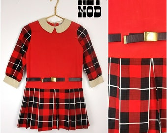 JUNIOR SIZE - ICONIC Vintage 60s Red, Black, Off-White Plaid Mod Twiggy Style Dress by Youngland