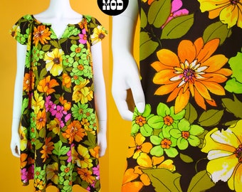 BRIGHT Vintage 70s Green, Orange, Brown, Pink Flower Power Muumuu Dress