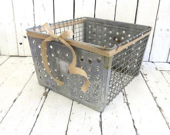 Metal Crate, Metal Locker Organizer, Metal Storage Bin, Kitchen Bath Decor, Organization, Rustic Decor, Industrial Decor, Vintage Crate