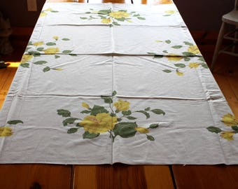 """Mid Century California Handprints Tablecloth Yellow Hibiscus Flower Vintage Tablecloth  52"""" x 48"""""""