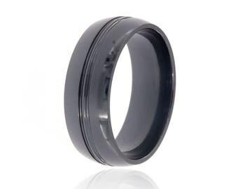 Black Titanium Wedding Band - Titanium Rings American Made Bands-Black-Titanium-8HRCP-P