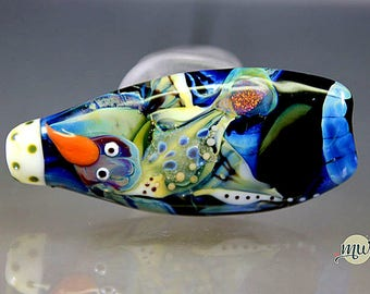 Glass Lampwork Owl and Bird Focal Bead, SRA, artist, handmade, Manuela Wutschke, Jungle, Colorful