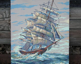 Vintage Paint by Number Clipper Ship Craftint Paint Mid Century 1956 PBN Unframed Painting 1950s