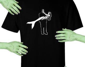 Voodoo Sugar Frankenstein's Monster Carrying Mermaid Men's / Unisex Black t-shirt Plus Sizes Available VoodooSugar