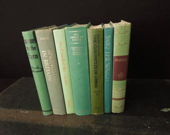 Home Staging Green Books by Color - Vintage Books for Decor - Book Stack - Teal Olive Forest Pistachio Green Mix Masculine Decoration