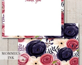 Pink and Purple Personalized Thank You Note, Personalized Stationery, Monogram Note Card, Personalized Thank You Card, Item: CarolineWTY