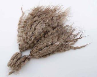 Medium blonde Doll Hair extra long 9-11 in Combed Mohair curly locks angora goat/ Reborn/ blythe/ bjd, abjd/ weft making/ lafiabarussa