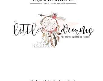 Dreamcatcher Logo, Rustic Logo, Boho Logo, Watercolor Logo, Bohemian Logo, Premade Logo, Custom Logo Design, Country Logo, Arrow Logo