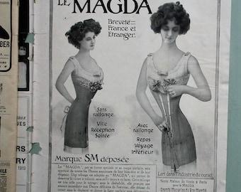 Femina Magazine 1910 antique French language women's fashion magazine Edwardian Belle Epoque era clothing millinery advertisements etc