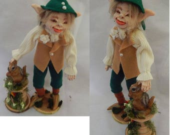 Shaw Elf with Squirrel Friend OOAK Fairy Fairies Sculpture Posable Soft Body Polymer Clay Figurine Fantasy Art