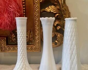 Set of 3 Milk Glass Vases