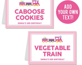 INSTANT DOWNLOAD Pink Train Party Buffet Cards - EDITABLE Printable File
