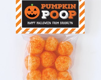 Halloween Treat Labels & Tags - Pumpkin Poop - Set of 24 personalized paper tags and 24 treat bags