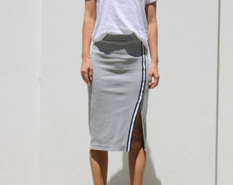 NEW Sporty Stripe Pencil Skirt, Side Slit Skirt, Jersey Pencil Skirt, Gray Pencil Skirt, Pull On Skirt, Straight Skirt, Casual Skirt - Gray