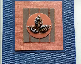 beaded leaf card