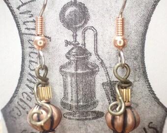 small STEAM Pumpkin earrings for fall, harvest, halloween pumpkin brass, copper black