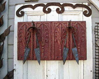 Coat Hooks. Towel Rack. Kitchen Hooks. Antique Ceiling Tin & Vintage Hooks. Architectural salvage. Red wall coat rack. Rustic key cap rack.