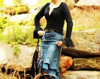 Bohemian Skirt , Boho Skirt , Bohemian Clothing , Gypsy Skirt , Long Skirt ,denim skirt
