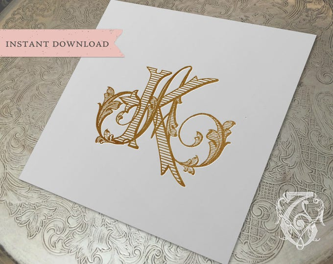 Vintage Wedding Monogram KA AK RM Digital Download  K A