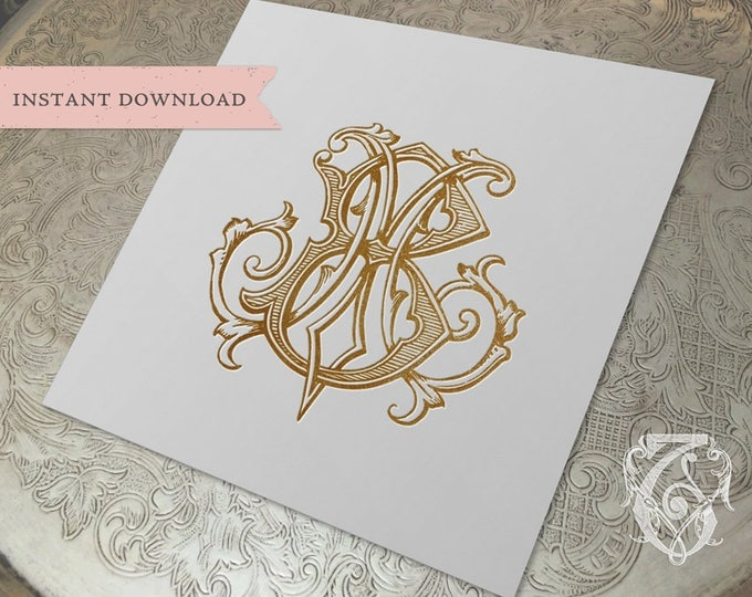 Vintage Wedding Monogram MB Digital Download M B