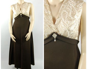60s - 1970s Formal Maxi - Chocolate Brown and Gold Ivory Brocade - Empire Waist Volup - Evening Maxi Late 1960s 70s