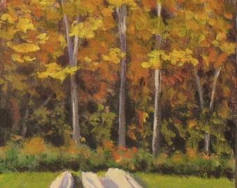 "Autumn landscape painting, acrylic  5"" x 7'"