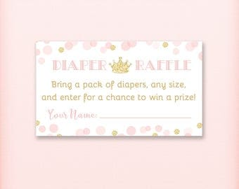 Princess Baby Shower Diaper Raffle Tickets, Royal Pink and Gold Glitter Princess Baby Shower Game, PRINTABLE INSTANT DOWNLOAD