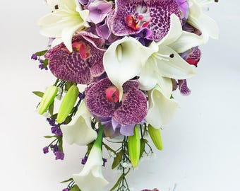 Cascade Bridal Bouquet with Real Touch Orchids, Real Touch Lilies, Silk Lavender Hydrangea - Customize for your colors