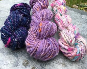 Handspun Yarn Pack / Weaving Pack / Knitting Pack - Pretty Purples - 138 grams - 131 yards