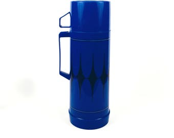 Vintage 1970s Blue and Black Diamond Aladdin Thermos