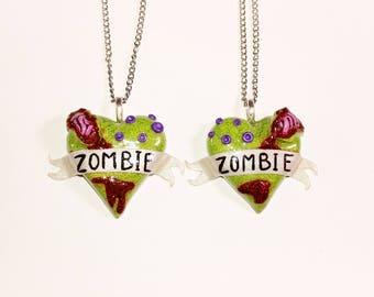 BFF Zombie Heart Necklace Set. Brains, walking dead, Friendship necklace
