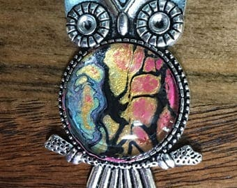 "2"" x 1"" Owl Pendants Alone or With 24"" Antique Silver Chain~Choose Your Colors from My Different Dried Fluid Acrylic Pours"