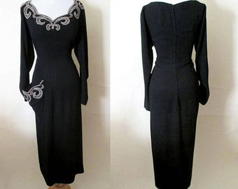 Gorgeous early 1950's Beaded Cocktail Party Dress with Dramatic Neckline and Side Pocket Vintage Chic Old hollywood Size Xlarge