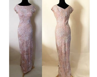 """Dazzling 1950's Designer Extreme Hourglass Sequined & Beaded Pink Gown by """"Gene Shilly"""" Pinup Girl, Rockabilly, Vixen Size Small"""