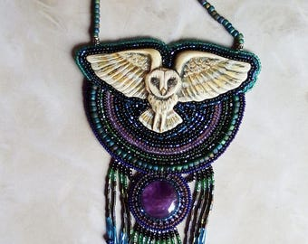 Handmade seed bead and amethyst statement owl necklace