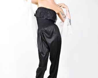 Vintage 80s Black Silk and Lace Harem Slouchy Jumpsuit Tube Top Perplum Elastic Waist Witchy Goth Pantsuit Lingerie Boudoir Burlesque S/M