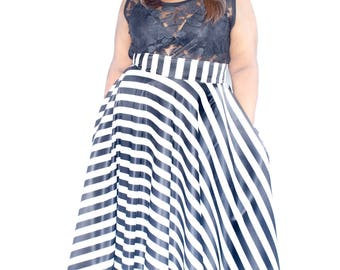 "Satin Plus Size Maxi Skirt Stripes plus size High Waist / plus size  2 - 24 ) 42"" L"