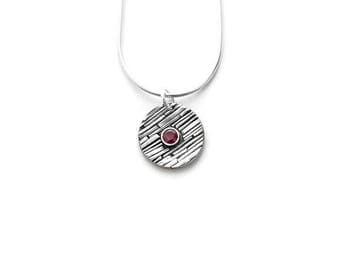 Ruby and Sterling Silver Pendant Necklace, Ruby and Silver Pendant, Ruby Pendant, Genuine Ruby Jewelry, July Birthstone, July necklace