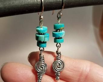 Natural Turquoise Earrings, Southwest Earrings,Turquoise Earrings, Dangle Earrings, Beaded Earrings, Boho Earrings, Drop Earrings
