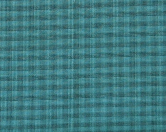 Teal Plaid Yarn Dye 100% Cotton Quilt Fabric for Sale, Kim Diehl's Helping Hands Yarn Dyes Collection, HEG6889Y-11