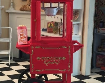Miniature Popcorn Popper Machine, Red Popcorn Cart, Dollhouse Miniature, 1:12 Scale, General Store, Decor, Accessory, Topper