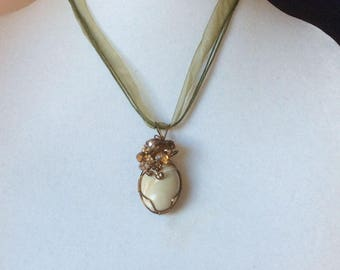 Polished Beach Rock  Wire Wrapped in Bronze with Crystals