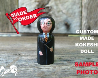 Custom Kokeshi Doll MADE TO ORDER 1 - 3 Inch Wooden Figure (You Choose Size and Shape) Hand-Painted Peg People Customized Miniature Dolls cm