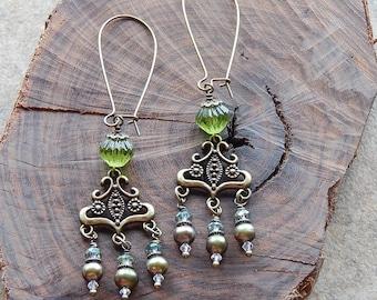Chandelier earrings - green glass and freshwater pearl statement earrings - czech glass fancy dangle earrings - boho style gypsy earrings