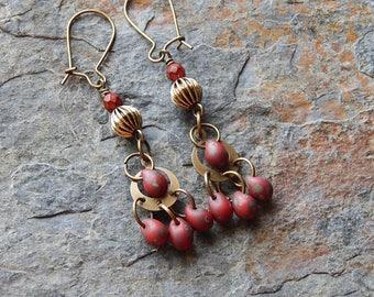 Red chandelier earrings - small statement earrings - dark boho earrings - picasso czech glass - fancy dangle earrings - little gypsy earring