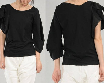 Black cotton knit summer asymmetrical T-shirt